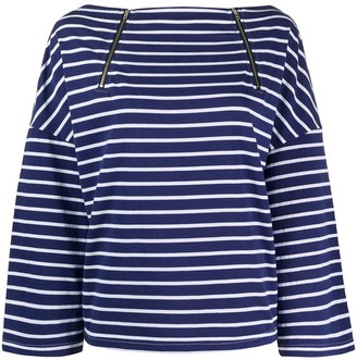 Semi-Couture Striped Long-Sleeve Top