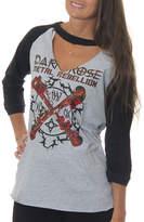 Asstd National Brand Freeze Juniors' Dark Rose Metal Rebellion RaglanChoker 3/4 Sleeve Graphic Top