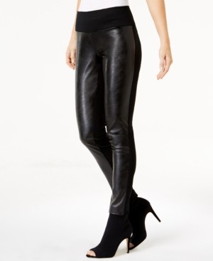 INC International Concepts Inc Petite Faux-Leather-Front Pants, Created for Macy's