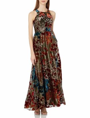 Aidan Mattox Aidan Women's Metallic Burn Out Long Halter Floral Gown