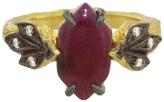 Cathy Waterman Ruby Cabachon Three Leaf Side Ring
