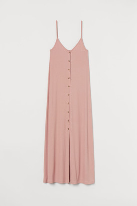 H&M Button-front ribbed Dress - Orange