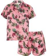 River Island Girls pink satin tropical shirt pajama set
