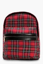 boohoo Womens Gabby Tartan Rucksack in Red size One Size