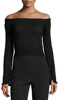 Erdem Bella Zigzag Knit Off-Shoulder Top, Black