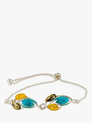 Be Jewelled Be-Jewelled Amber and Turquoise Slider Chain Bracelet, Silver/Multi