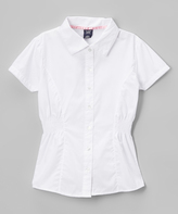 U.S. Polo Assn. White Shirred Button-Up Top - Girls