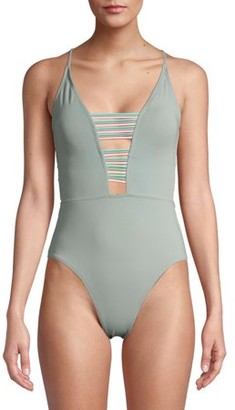 No Boundaries Juniors' Deep V One Piece Swimsuit