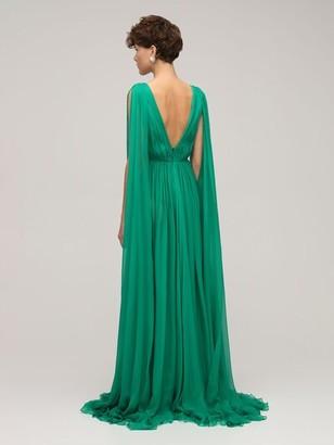 ZUHAIR MURAD Draped Silk Chiffon V Neck Long Dress