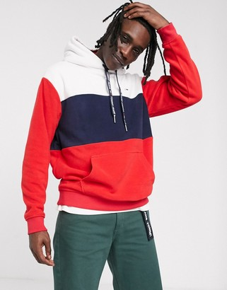 Tommy Jeans overhead fleece hoodie in red/white/navy with icon logo