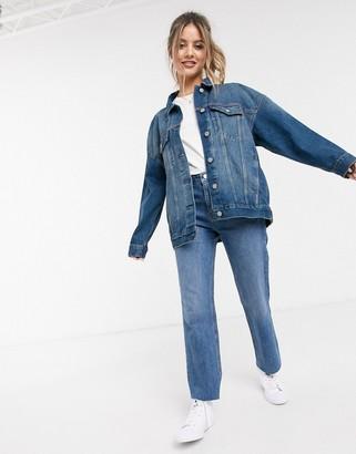 ASOS DESIGN denim oversized jacket in mid wash blue