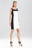 Josie Natori Double Knit Jersey Sleeveless Color Block Dress