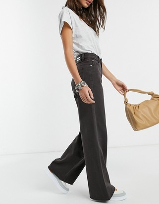 Dr. Denim Aiko mid rise wide leg jeans in washed black
