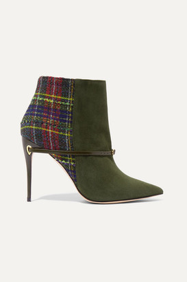 Jennifer Chamandi Nicoló 105 Suede And Checked Bouclé-tweed Ankle Boots - Army green