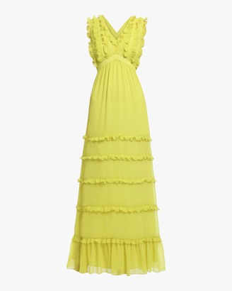 Badgley Mischka Ruffled Maxi Dress