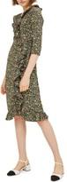 Topshop Women's Flower Garden Ruffle Wrap Dress
