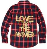 Vintage Havana Girls' Love Is the Answer Graphic Flannel Shirt