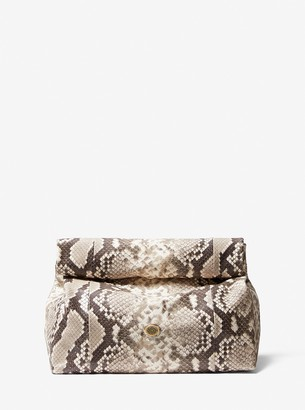 Michael Kors Collection Monogramme Python Embossed Lunch Bag Clutch