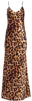 L'Agence Serita Leopard Print Maxi Dress