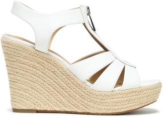 MICHAEL Michael Kors Zip-detailed Leather Wedge Espadrille Sandals