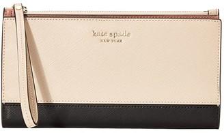 Kate Spade Spencer Continental Wristlet (Warm Beige/Black) Handbags