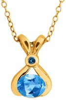 Gem Stone King 0.83 Ct Oval Swiss Blue Topaz and Blue Diamond 18k Yellow Gold Pendant