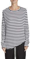 Bassike Stripe Scoop Hem L/S T.Shirt