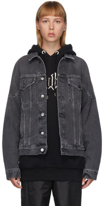 Palm Angels Black Denim Logo Over Jacket