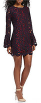 WAYF Merrick Lace Bell Sleeve Shift Dress