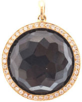Ippolita Faceted Hematite 18kt Yellow Gold Diamond Rim Lollipop Pendant