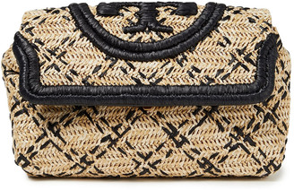 Tory Burch Fleming Embroidered Raffia Clutch