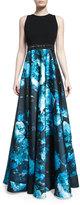 Carmen Marc Valvo Sleeveless Wool & Floral Satin Combo Gown, Black/Turquoise
