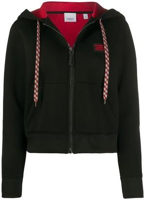 Burberry Logo Applique Zip-Up Hoodie