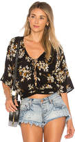 Amuse Society Stevie Floral Blouse in Black. - size M (also in XS)