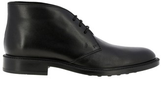 Tod's Lace-up Boots In Smooth Leather With Rubber Sole