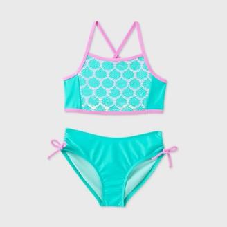 Cat & Jack Girls' Halter 2pc Mermaid Flip Sequin Bikini Set - Cat & JackTM