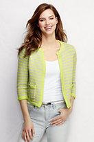 Classic Women's Petite Drifter Cropped Jacket Sweater-Vintage Birch Heather Stripe