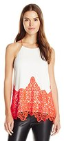 Blu Pepper Women's Spaghetti Strap Cami with Neon Crochet Applique