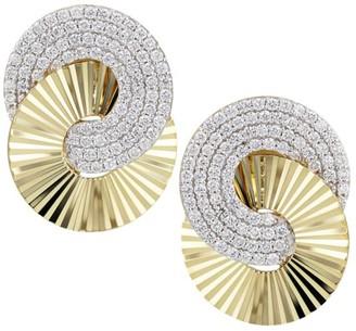 Phillips House Aura Large 14K Yellow Gold & Diamond Pave Interlocking Stud Earrings