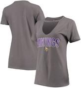 New Era Women's Gray Minnesota Vikings Gradient Glitter Choker V-Neck T-Shirt