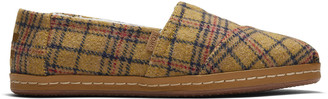 Toms Yellow Plaid Leather Wrap Alpargata