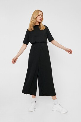 Nasty Gal Womens Chill Zone Relaxed Culotte Jumpsuit - Black - 4