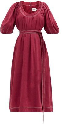Aje Rebellion Gathered Linen-blend Midi Dress - Burgundy