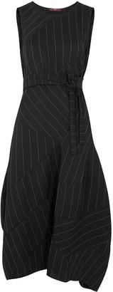High Illusion Black Pinstriped Midi Dress