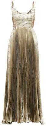 Maria Lucia Hohan Amalia Metallic Silk Blend Chiffon Dress - Womens - Gold