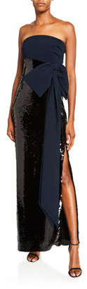 Sachin + Babi Siena Strapless Column Gown w/ Sequin Skirt & Bow Accent