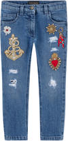 Dolce & Gabbana Girl skinny fit jeans with fancy patches