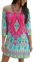 Qin.Orianna Women's Tropical Off Shoulder Strapless Bohemia Paisley Printing Beach Dress