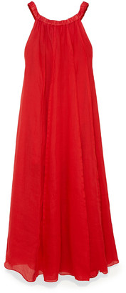 Three Graces London Evangeline Off-the-shoulder Pleated Ramie Maxi Dress