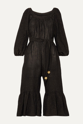 Lisa Marie Fernandez Net Sustain Laure Metallic Linen-blend Jumpsuit - Black